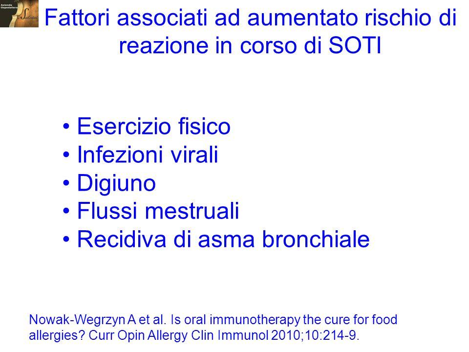 Esercizio fisico Infezioni virali Digiuno Flussi mestruali Recidiva di asma bronchiale Fattori associati ad aumentato rischio di reazione in corso di