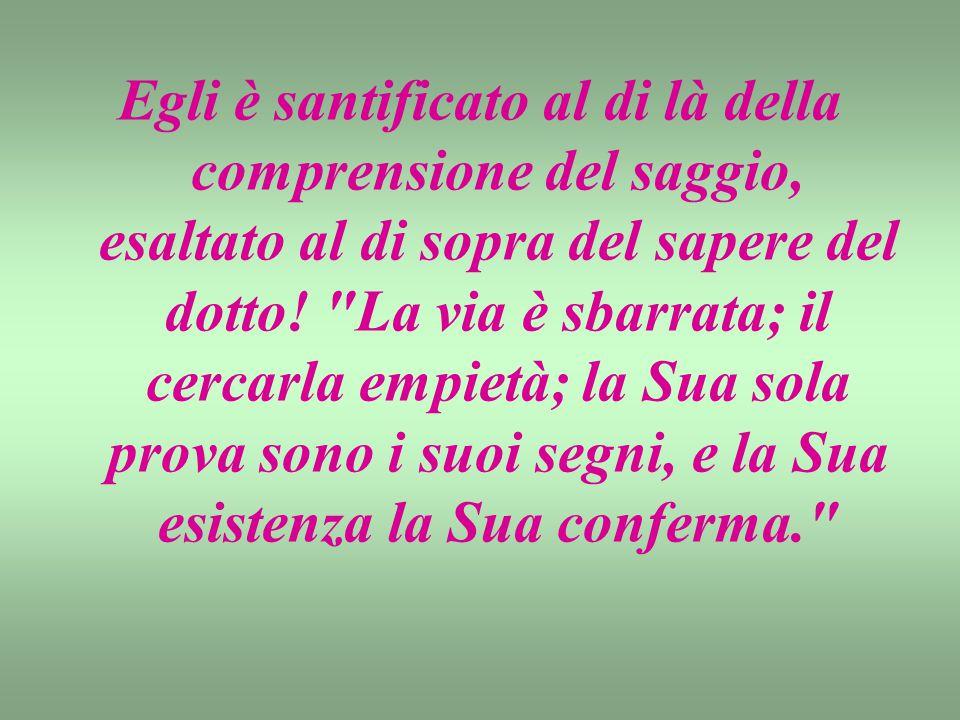 Egli è santificato al di là della comprensione del saggio, esaltato al di sopra del sapere del dotto.