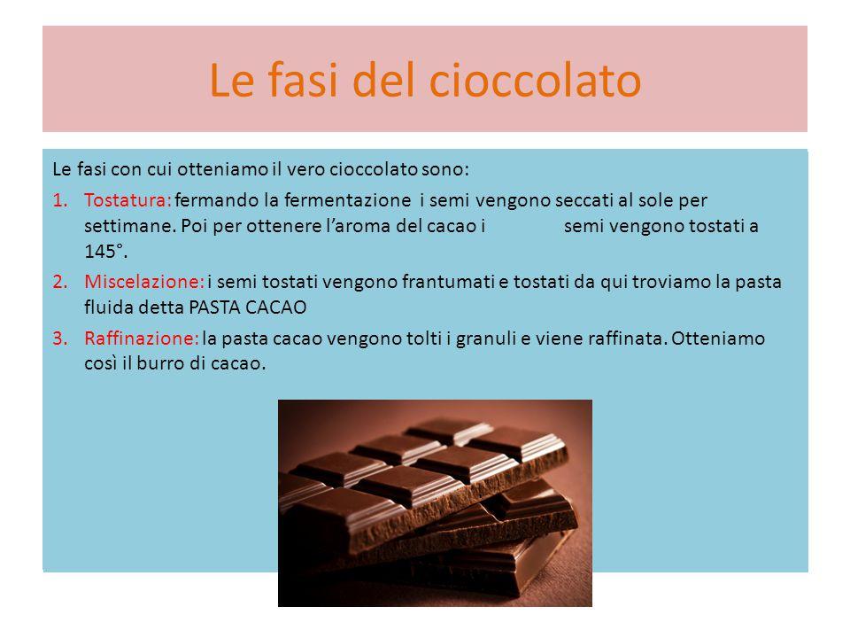 Le fasi del cioccolato Le fasi con cui otteniamo il vero cioccolato sono: 1.Tostatura: fermando la fermentazione i semi vengono seccati al sole per settimane.