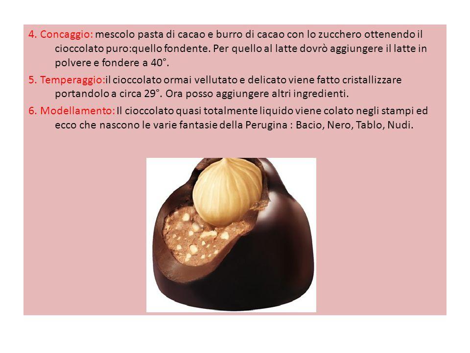4. Concaggio: mescolo pasta di cacao e burro di cacao con lo zucchero ottenendo il cioccolato puro:quello fondente. Per quello al latte dovrò aggiunge