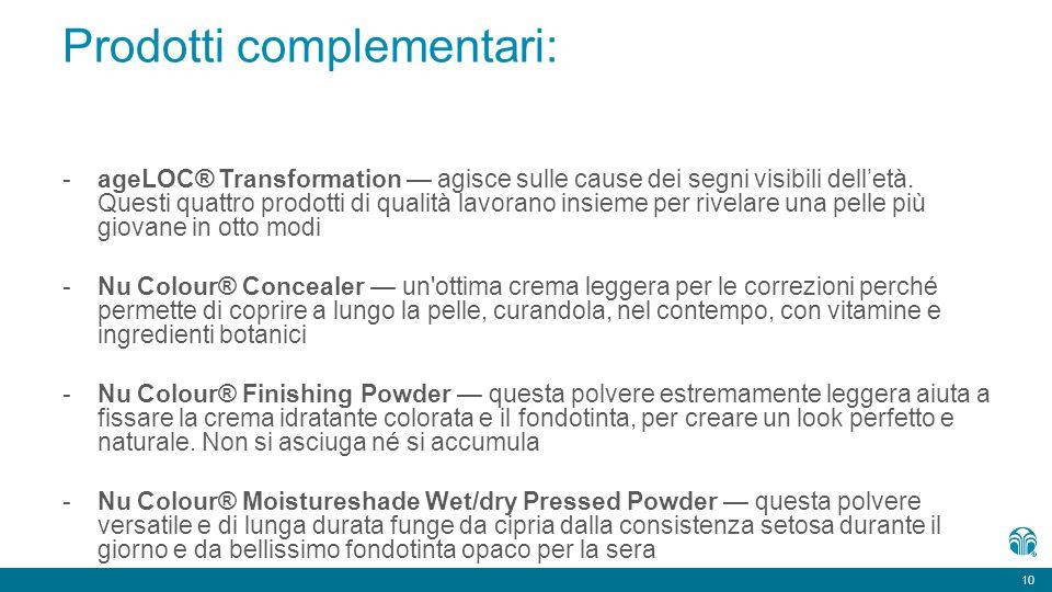 10 Prodotti complementari: -ageLOC ® Transformation — agisce sulle cause dei segni visibili dell'età. Questi quattro prodotti di qualità lavorano insi