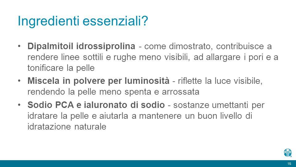 15 Ingredienti essenziali? Dipalmitoil idrossiprolina - come dimostrato, contribuisce a rendere linee sottili e rughe meno visibili, ad allargare i po