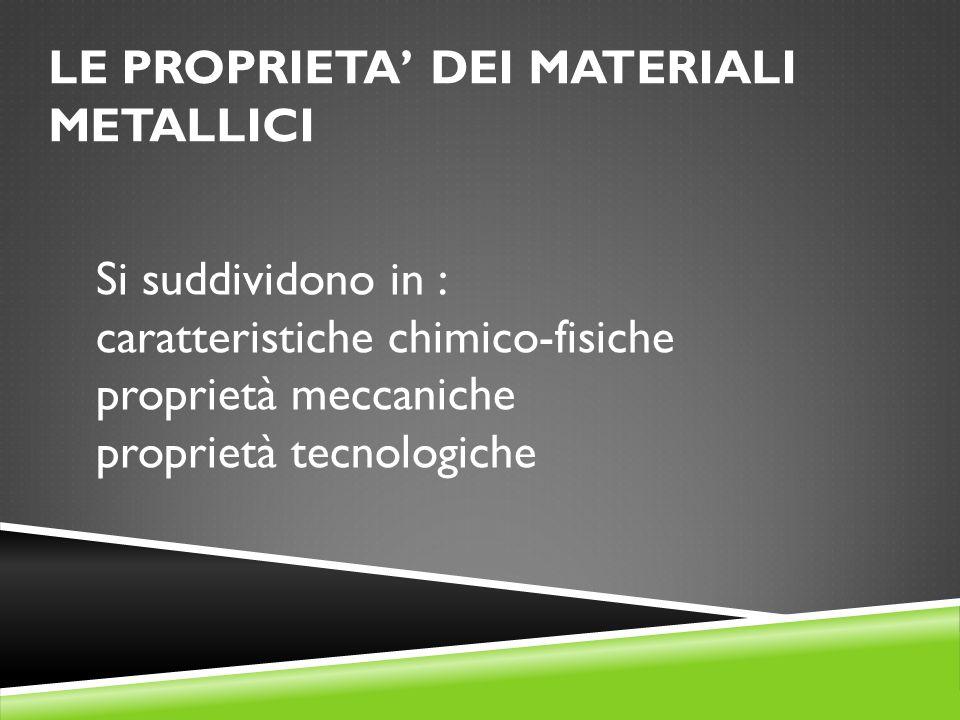 LE PROPRIETA' DEI MATERIALI METALLICI Si suddividono in : caratteristiche chimico-fisiche proprietà meccaniche proprietà tecnologiche