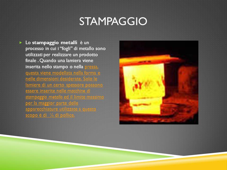 """STAMPAGGIO  Lo stampaggio metalli è un processo in cui i """"fogli"""" di metallo sono utilizzati per realizzare un prodotto finale. Quando una lamiera vie"""