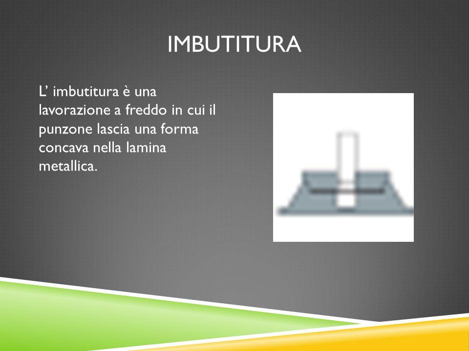 IMBUTITURA L' imbutitura è una lavorazione a freddo in cui il punzone lascia una forma concava nella lamina metallica.