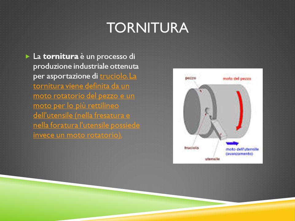 TORNITURA  La tornitura è un processo di produzione industriale ottenuta per asportazione di truciolo. La tornitura viene definita da un moto rotator