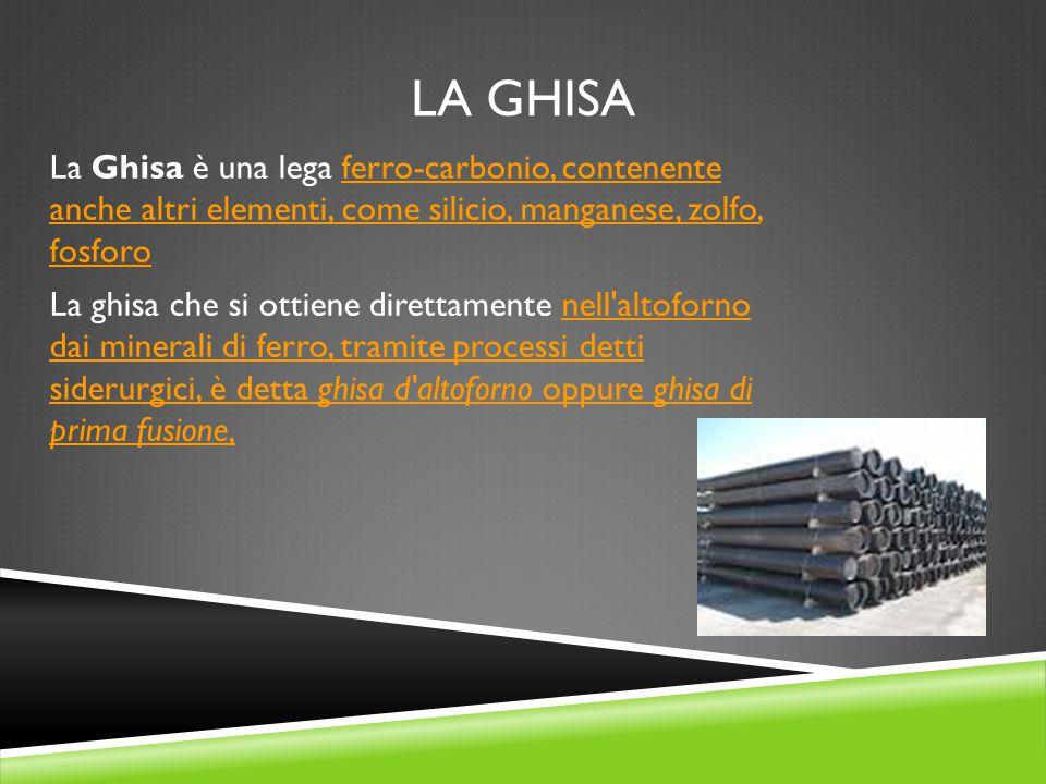 LA GHISA La Ghisa è una lega ferro-carbonio, contenente anche altri elementi, come silicio, manganese, zolfo, fosforoferro-carbonio, contenente anche