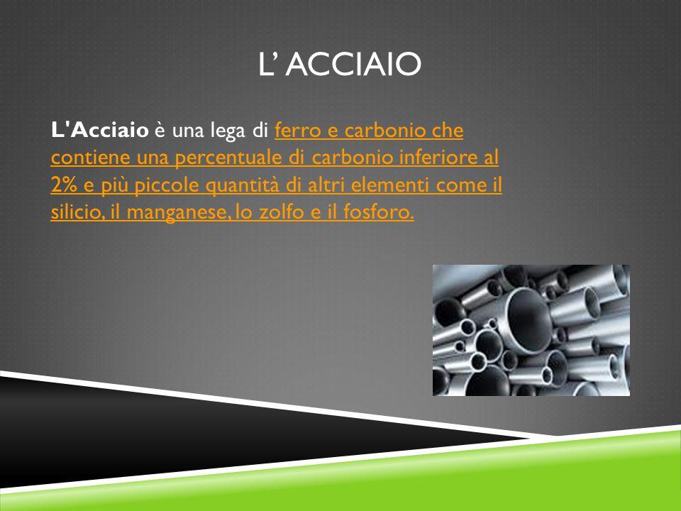 L' ACCIAIO L'Acciaio è una lega di ferro e carbonio che contiene una percentuale di carbonio inferiore al 2% e più piccole quantità di altri elementi