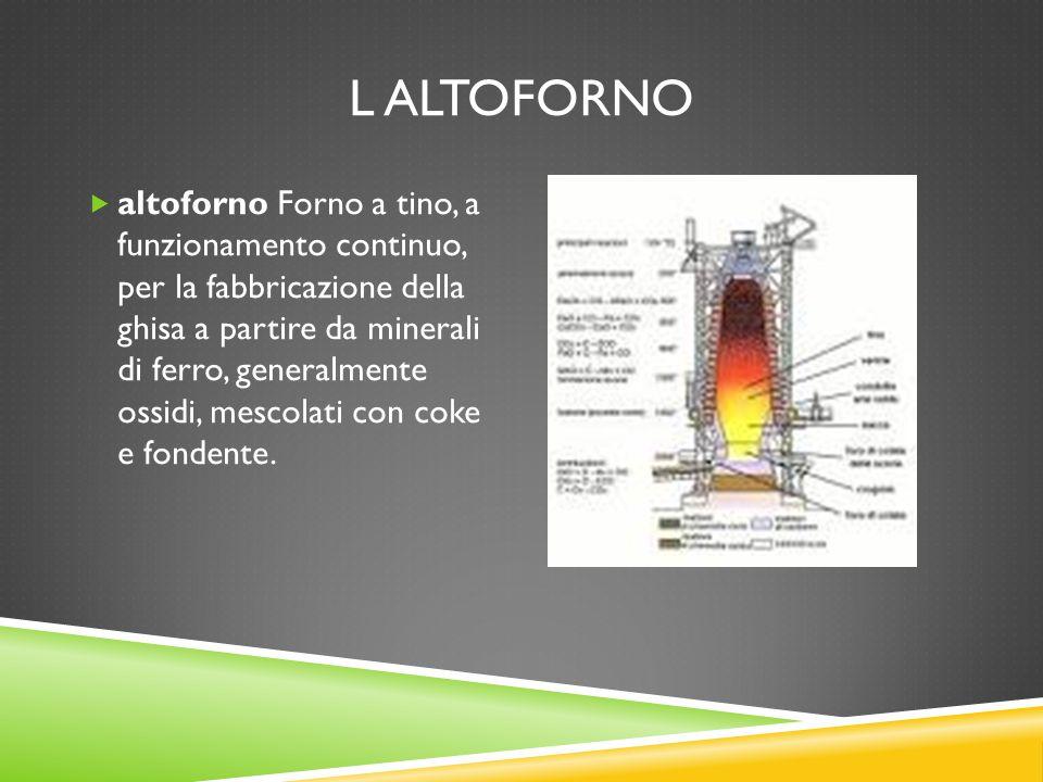L ALTOFORNO  altoforno Forno a tino, a funzionamento continuo, per la fabbricazione della ghisa a partire da minerali di ferro, generalmente ossidi,
