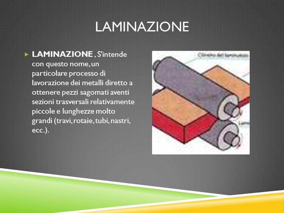 LAMINAZIONE  LAMINAZIONE, S'intende con questo nome, un particolare processo di lavorazione dei metalli diretto a ottenere pezzi sagomati aventi sezi