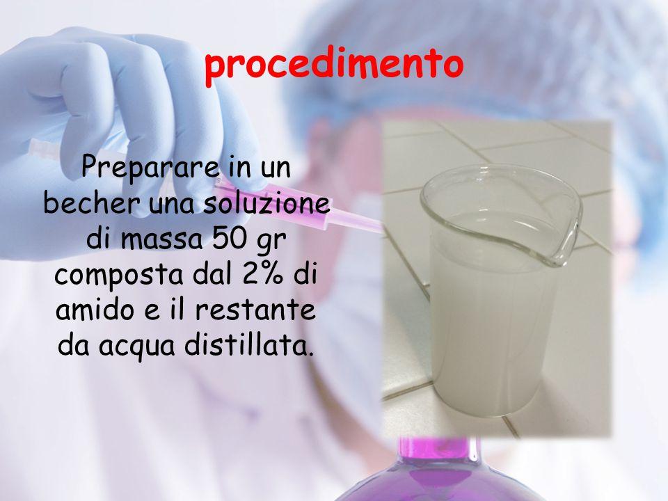 procedimento Preparare in un becher una soluzione di massa 50 gr composta dal 2% di amido e il restante da acqua distillata.