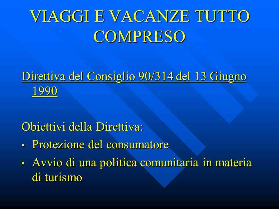 IL CONTRATTO DI VIAGGIO Art.