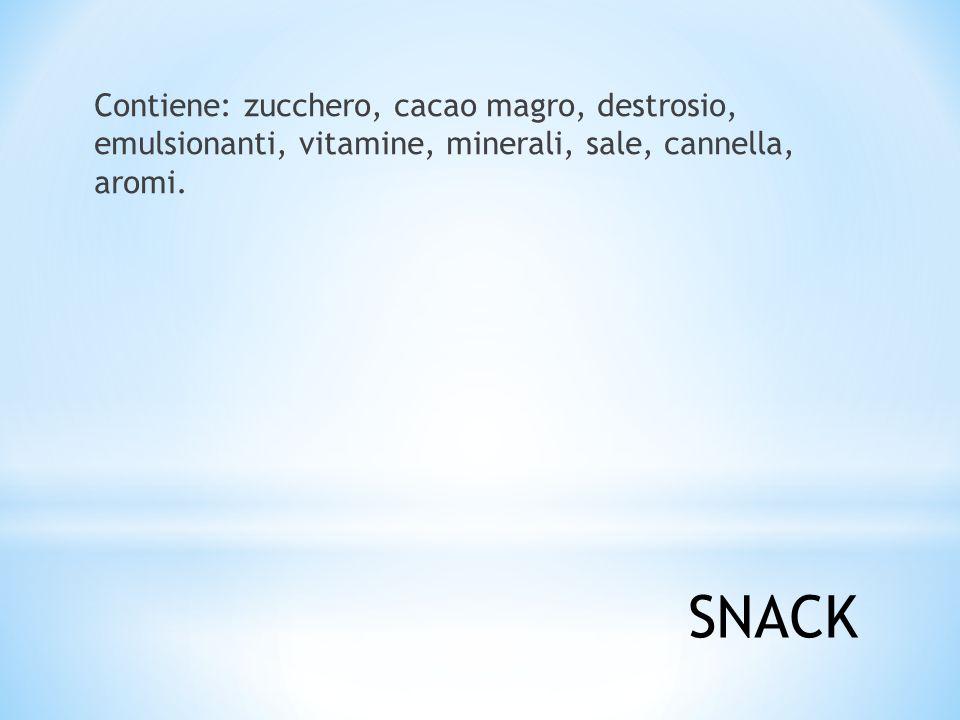 Contiene: zucchero, cacao magro, destrosio, emulsionanti, vitamine, minerali, sale, cannella, aromi.