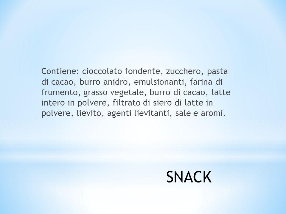 Contiene: cioccolato fondente, zucchero, pasta di cacao, burro anidro, emulsionanti, farina di frumento, grasso vegetale, burro di cacao, latte intero