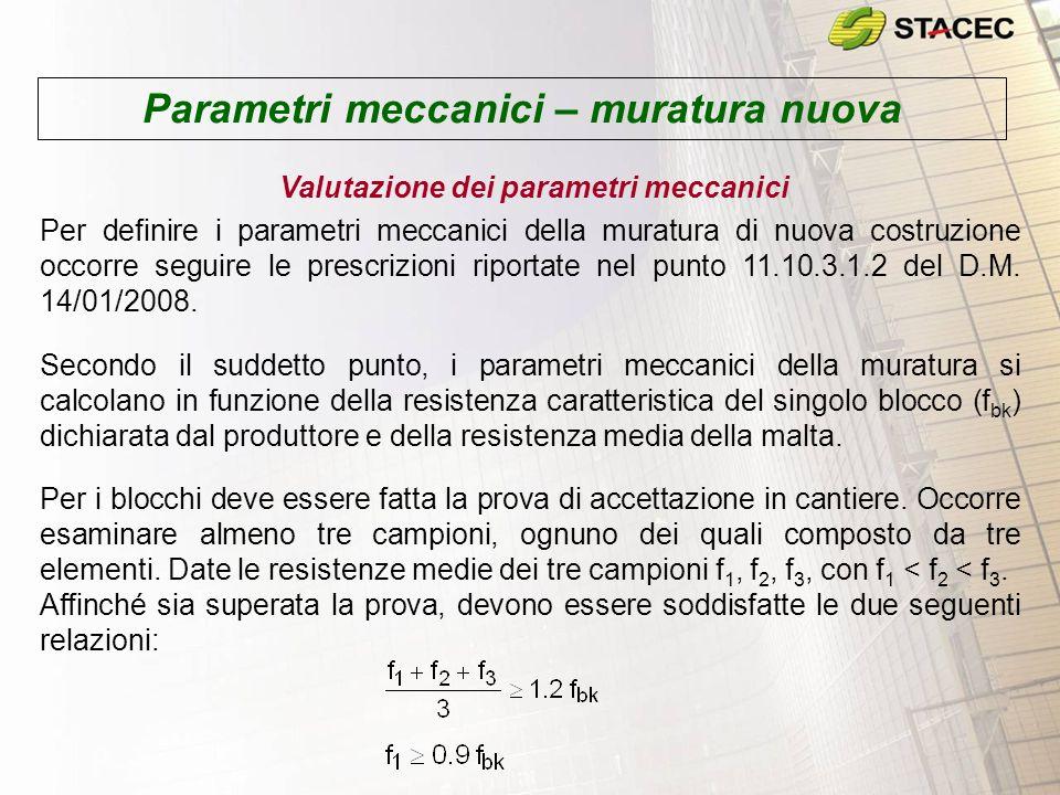 Valutazione dei parametri meccanici Le prestazioni meccaniche di una malta vengono definite mediante la resistenza media a compressione f m.