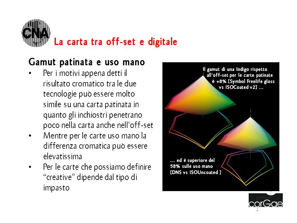 Gamut patinata e uso mano Per i motivi appena detti il risultato cromatico tra le due tecnologie può essere molto simile su una carta patinata in quan