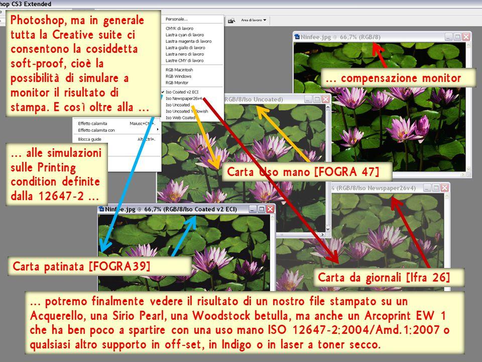 … compensazione monitor Carta Uso mano [FOGRA 47] Carta patinata [FOGRA39] Carta da giornali [Ifra 26] Photoshop, ma in generale tutta la Creative suite ci consentono la cosiddetta soft-proof, cioè la possibilità di simulare a monitor il risultato di stampa.