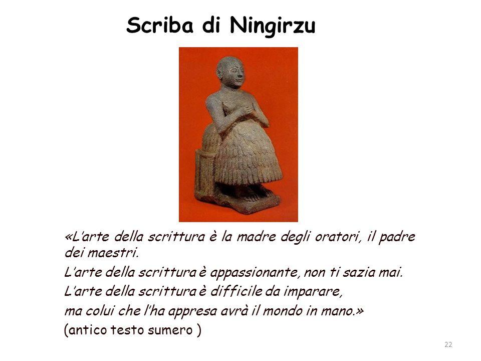 Scriba di Ningirzu «L'arte della scrittura è la madre degli oratori, il padre dei maestri. L'arte della scrittura è appassionante, non ti sazia mai. L