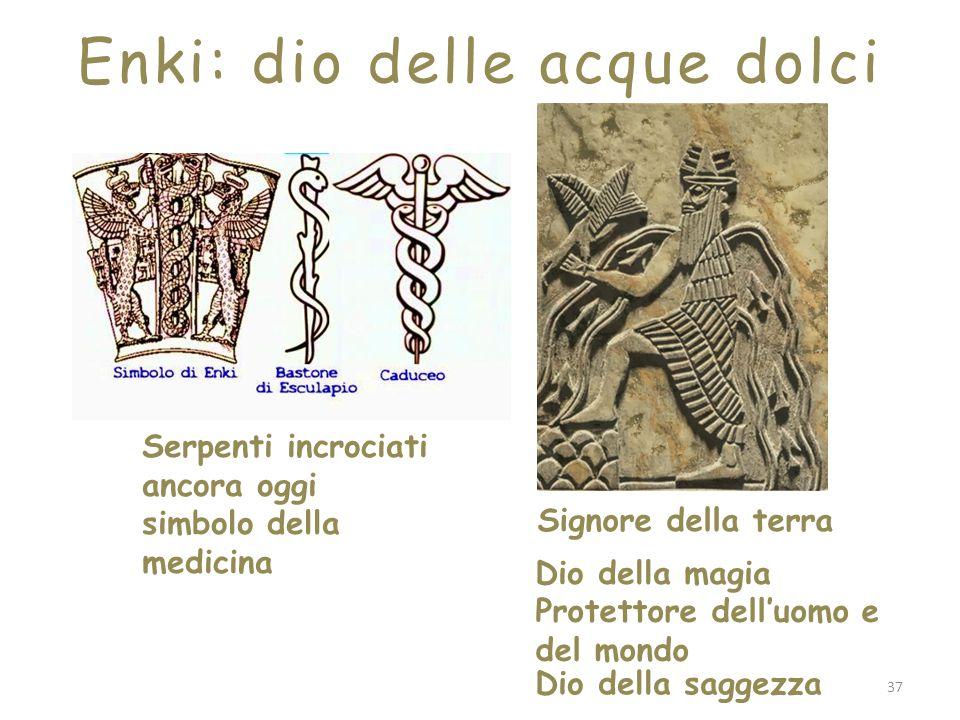 Dio della saggezza Signore della terra Dio della magia Protettore dell'uomo e del mondo Serpenti incrociati ancora oggi simbolo della medicina Enki: d