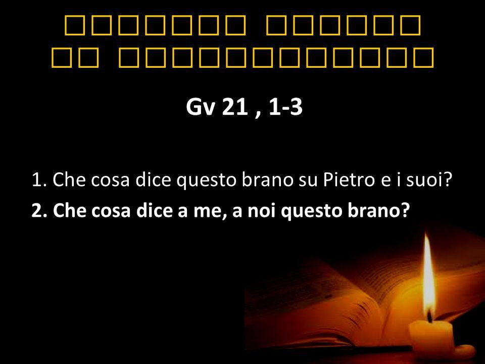 Quattro esempi di applicazione Gv 21, 1-3 1. Che cosa dice questo brano su Pietro e i suoi? 2. Che cosa dice a me, a noi questo brano?