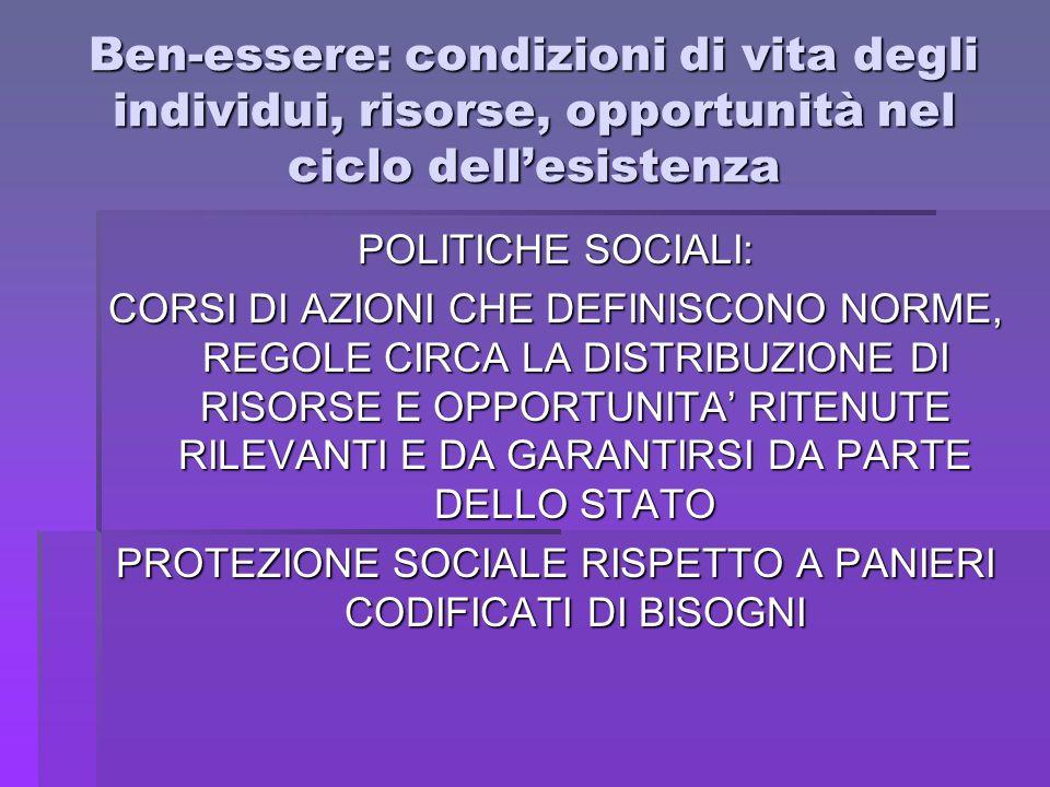 Ben-essere: condizioni di vita degli individui, risorse, opportunità nel ciclo dell'esistenza POLITICHE SOCIALI: CORSI DI AZIONI CHE DEFINISCONO NORME