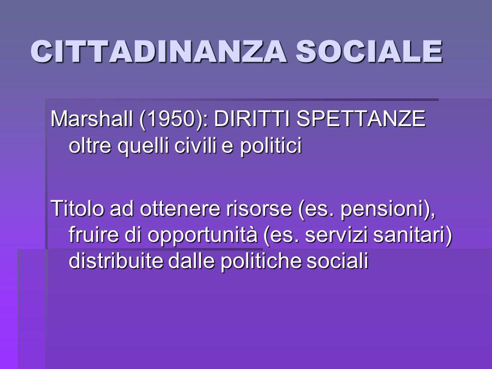 CITTADINANZA SOCIALE Marshall (1950): DIRITTI SPETTANZE oltre quelli civili e politici Titolo ad ottenere risorse (es. pensioni), fruire di opportunit