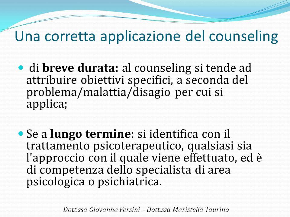 Una corretta applicazione del counseling di breve durata: al counseling si tende ad attribuire obiettivi specifici, a seconda del problema/malattia/di