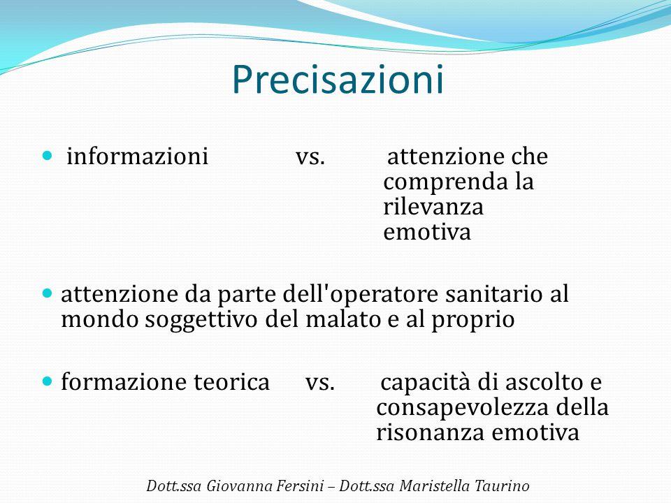 Precisazioni informazioni vs. attenzione che comprenda la rilevanza emotiva attenzione da parte dell'operatore sanitario al mondo soggettivo del malat