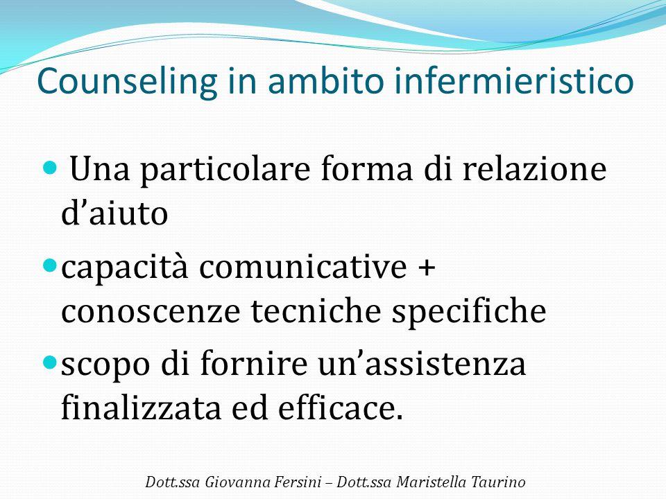 Counseling in ambito infermieristico Una particolare forma di relazione d'aiuto capacità comunicative + conoscenze tecniche specifiche scopo di fornir