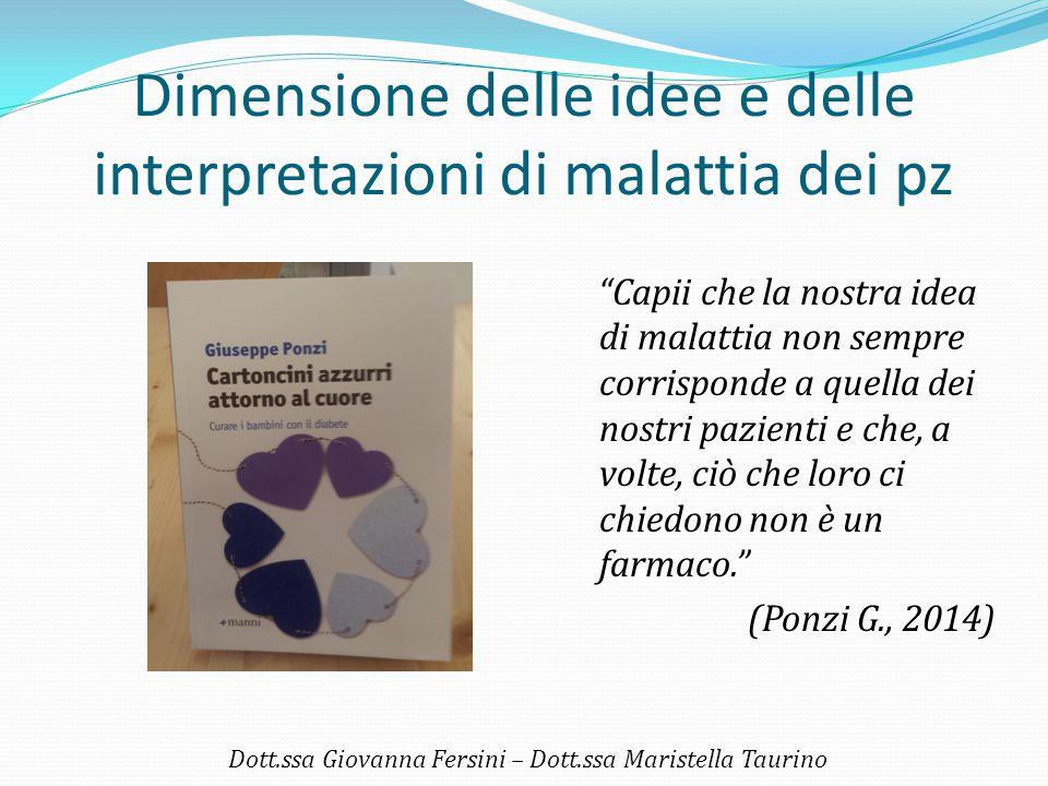 """Dimensione delle idee e delle interpretazioni di malattia dei pz """"Capii che la nostra idea di malattia non sempre corrisponde a quella dei nostri pazi"""