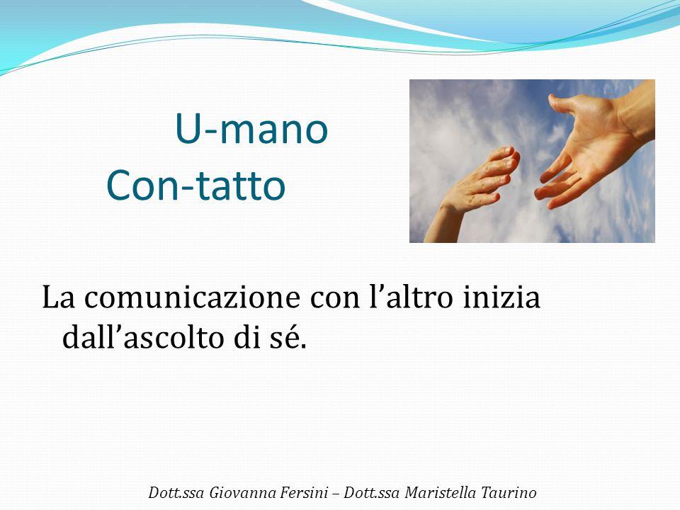 U-mano Con-tatto La comunicazione con l'altro inizia dall'ascolto di sé. Dott.ssa Giovanna Fersini – Dott.ssa Maristella Taurino