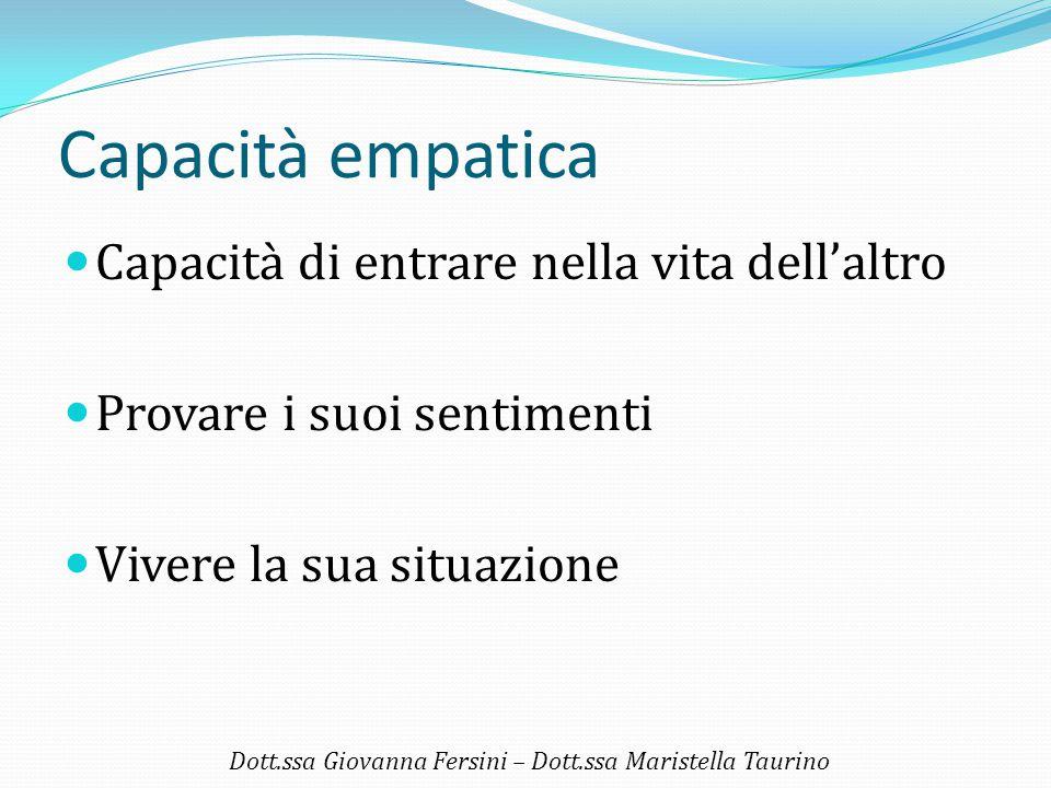 Capacità empatica Capacità di entrare nella vita dell'altro Provare i suoi sentimenti Vivere la sua situazione Dott.ssa Giovanna Fersini – Dott.ssa Ma
