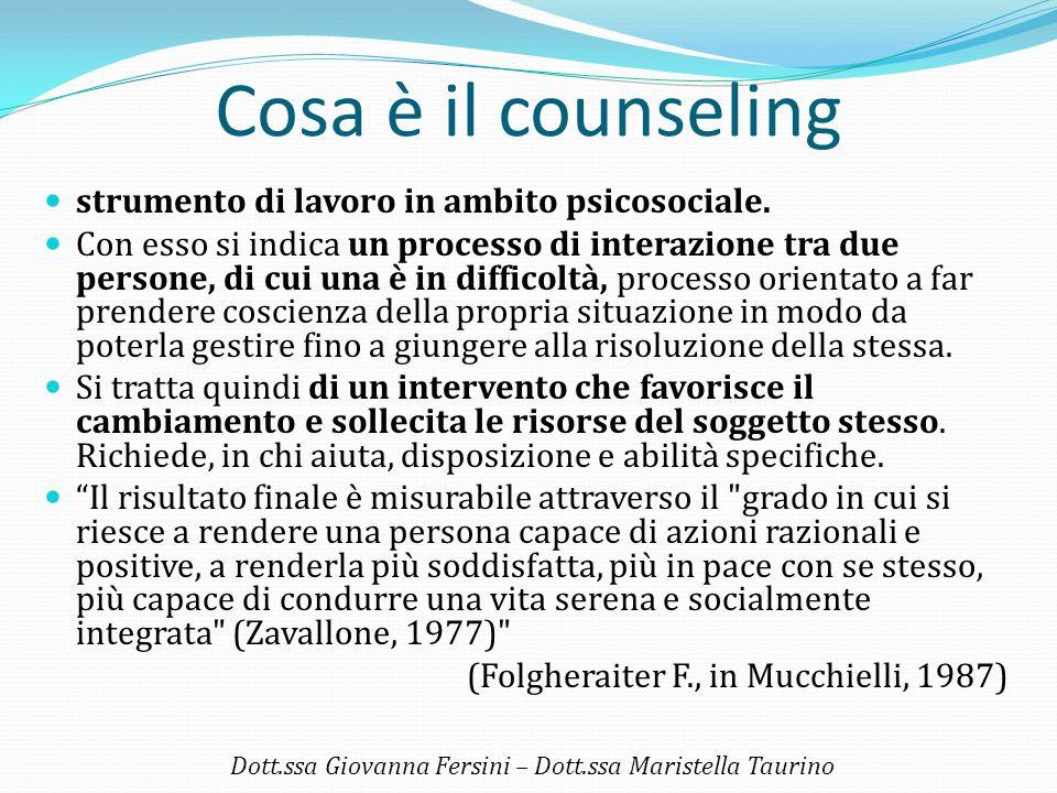 Cosa è il counseling strumento di lavoro in ambito psicosociale. Con esso si indica un processo di interazione tra due persone, di cui una è in diffic