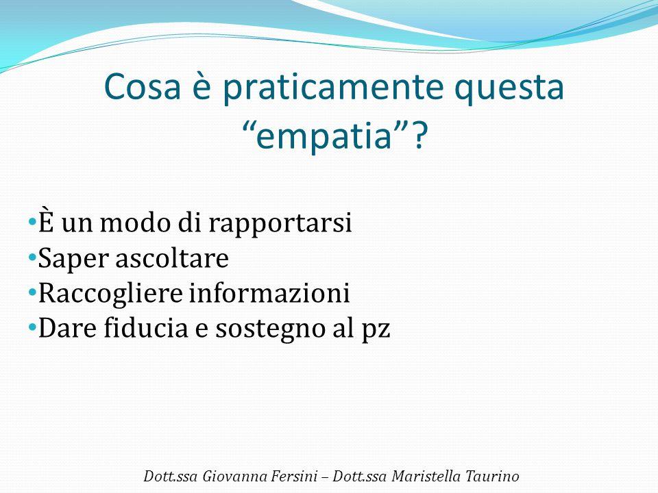 """Cosa è praticamente questa """"empatia""""? Dott.ssa Giovanna Fersini – Dott.ssa Maristella Taurino È un modo di rapportarsi Saper ascoltare Raccogliere inf"""