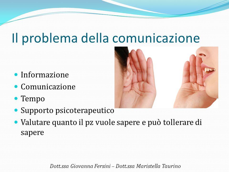 Il problema della comunicazione Informazione Comunicazione Tempo Supporto psicoterapeutico Valutare quanto il pz vuole sapere e può tollerare di saper