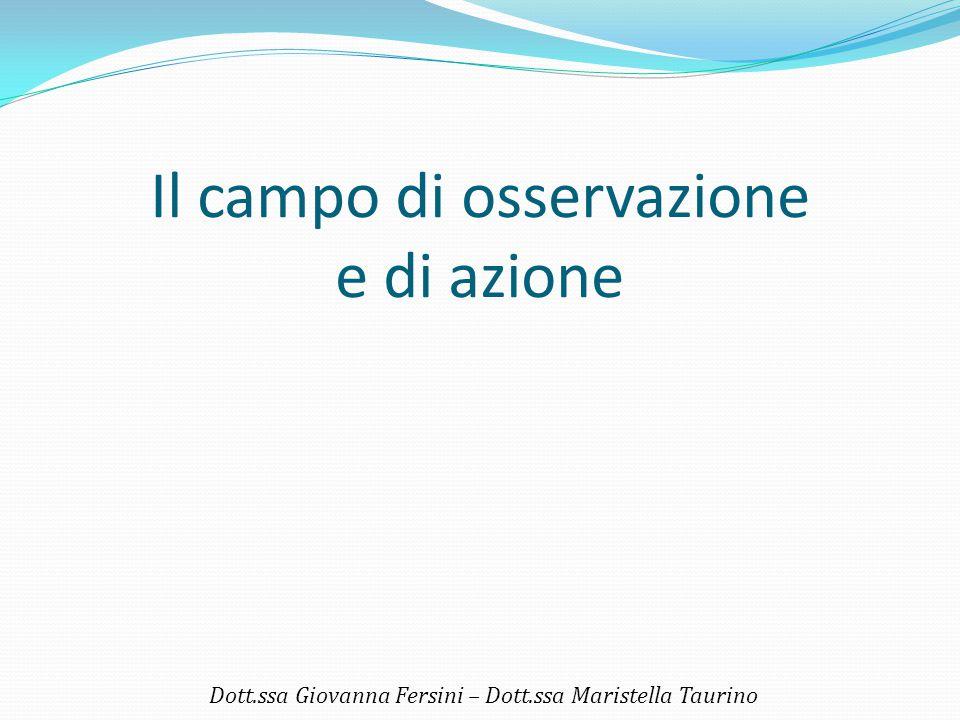 Il campo di osservazione e di azione Dott.ssa Giovanna Fersini – Dott.ssa Maristella Taurino