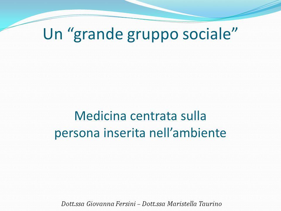 """Un """"grande gruppo sociale"""" Dott.ssa Giovanna Fersini – Dott.ssa Maristella Taurino Medicina centrata sulla persona inserita nell'ambiente"""