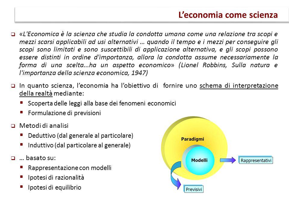  «L'Economica è la scienza che studia la condotta umana come una relazione tra scopi e mezzi scarsi applicabili ad usi alternativi … quando il tempo