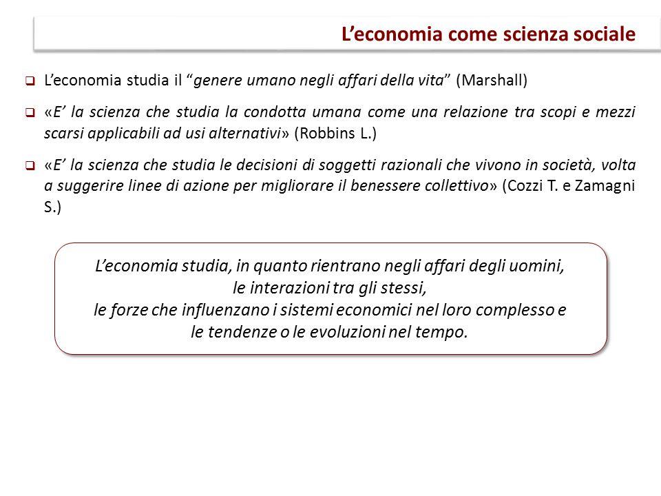 """ L'economia studia il """"genere umano negli affari della vita"""" (Marshall)  «E' la scienza che studia la condotta umana come una relazione tra scopi e"""