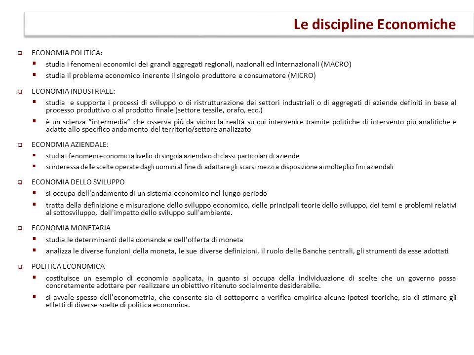  ECONOMIA POLITICA:  studia i fenomeni economici dei grandi aggregati regionali, nazionali ed internazionali (MACRO)  studia il problema economico