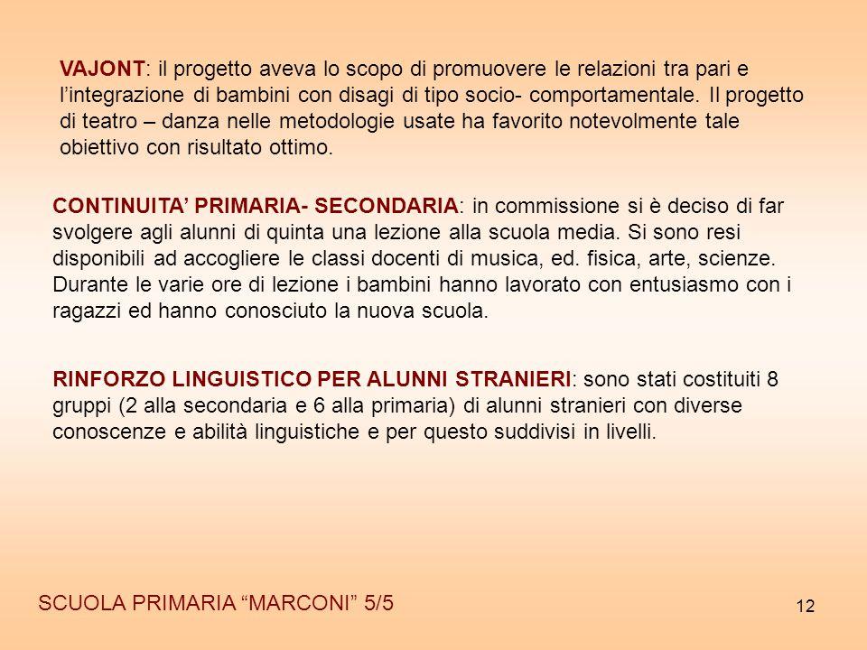 """12 SCUOLA PRIMARIA """"MARCONI"""" 5/5 CONTINUITA' PRIMARIA- SECONDARIA: in commissione si è deciso di far svolgere agli alunni di quinta una lezione alla s"""