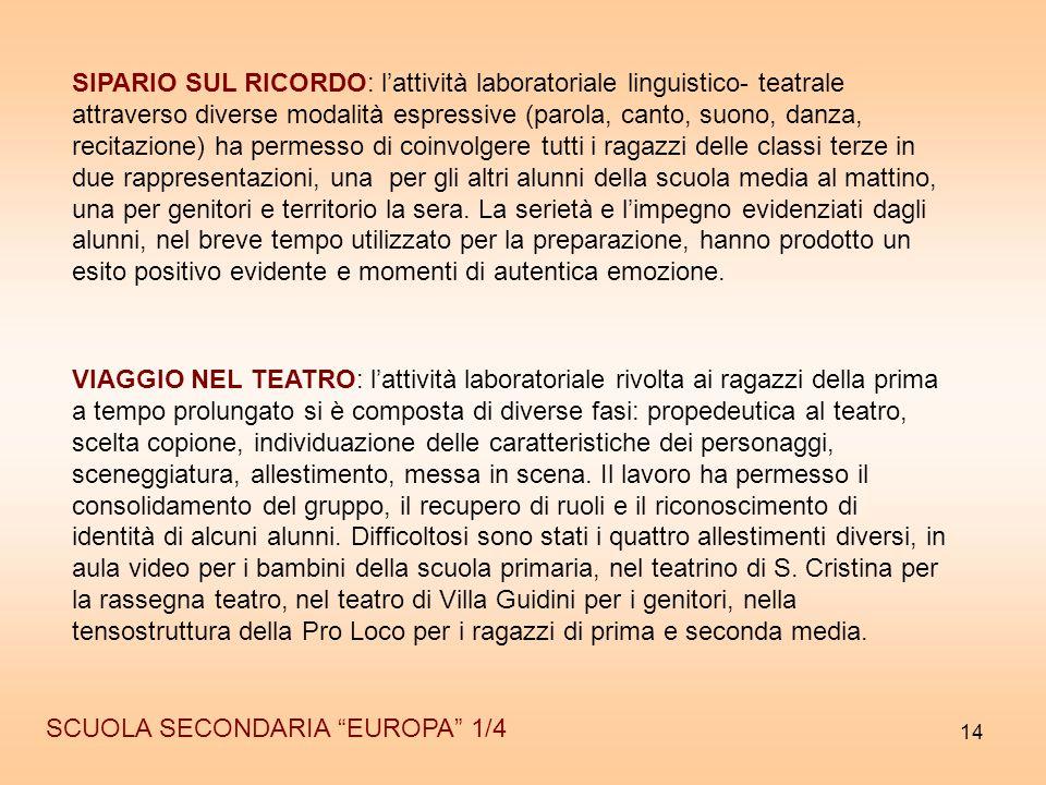 """14 SCUOLA SECONDARIA """"EUROPA"""" 1/4 SIPARIO SUL RICORDO: l'attività laboratoriale linguistico- teatrale attraverso diverse modalità espressive (parola,"""
