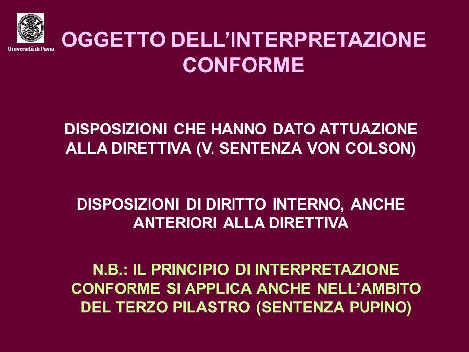 Università di Pavia OGGETTO DELL'INTERPRETAZIONE CONFORME DISPOSIZIONI CHE HANNO DATO ATTUAZIONE ALLA DIRETTIVA (V. SENTENZA VON COLSON) DISPOSIZIONI
