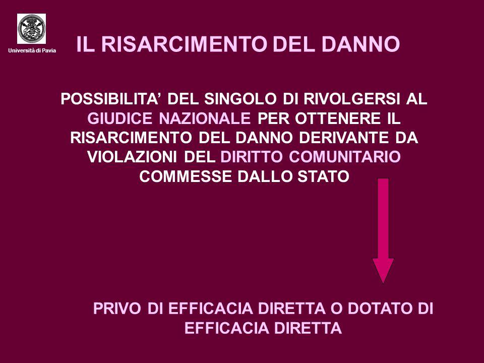 Università di Pavia LA SENTENZA FRANCOVICH LE CONDIZIONI NECESSARIE AFFINCHE' SORGA IL DIRITTO AL RISARCIMENTO - LA NORMA VIOLATA DEVE ESSERE PREORDINATA A CONFERIRE DIRITTI AI SINGOLI - LA VIOLAZIONE DEVE ESSERE GRAVE E MANIFESTA - DEVE SUSSISTERE UN NESSO DI CAUSALITA' TRA VIOLAZIONE E DANNO SUBITO DAL SINGOLO