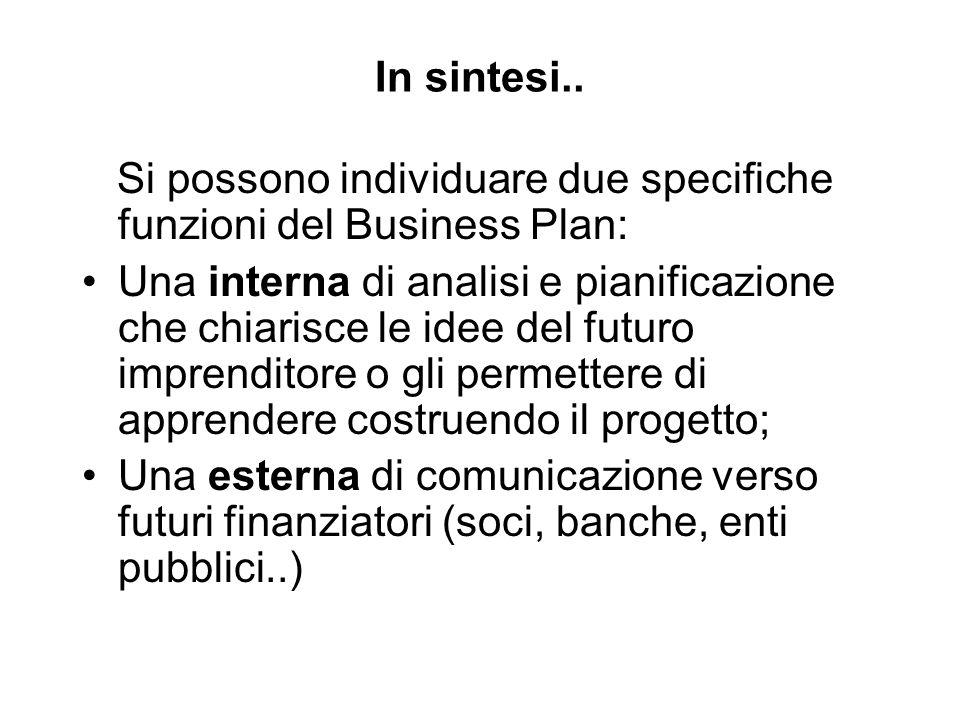 In sintesi.. Si possono individuare due specifiche funzioni del Business Plan: Una interna di analisi e pianificazione che chiarisce le idee del futur