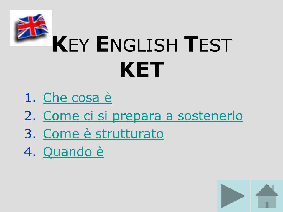 K EY E NGLISH T EST KET 1.Che cosa èChe cosa è 2.Come ci si prepara a sostenerloCome ci si prepara a sostenerlo 3.Come è strutturatoCome è strutturato