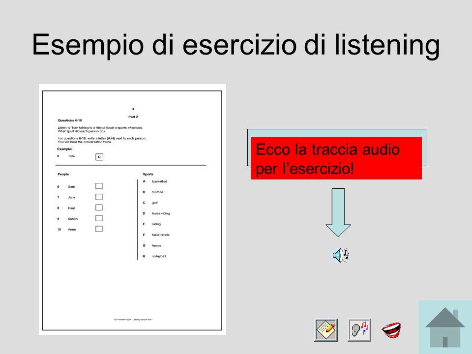 Esempio di esercizio di listening Ecco la traccia audio per l'esercizio!