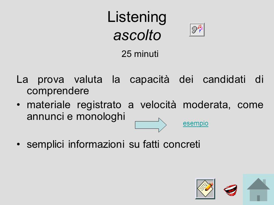 Listening ascolto 25 minuti La prova valuta la capacità dei candidati di comprendere materiale registrato a velocità moderata, come annunci e monologhi semplici informazioni su fatti concreti esempio