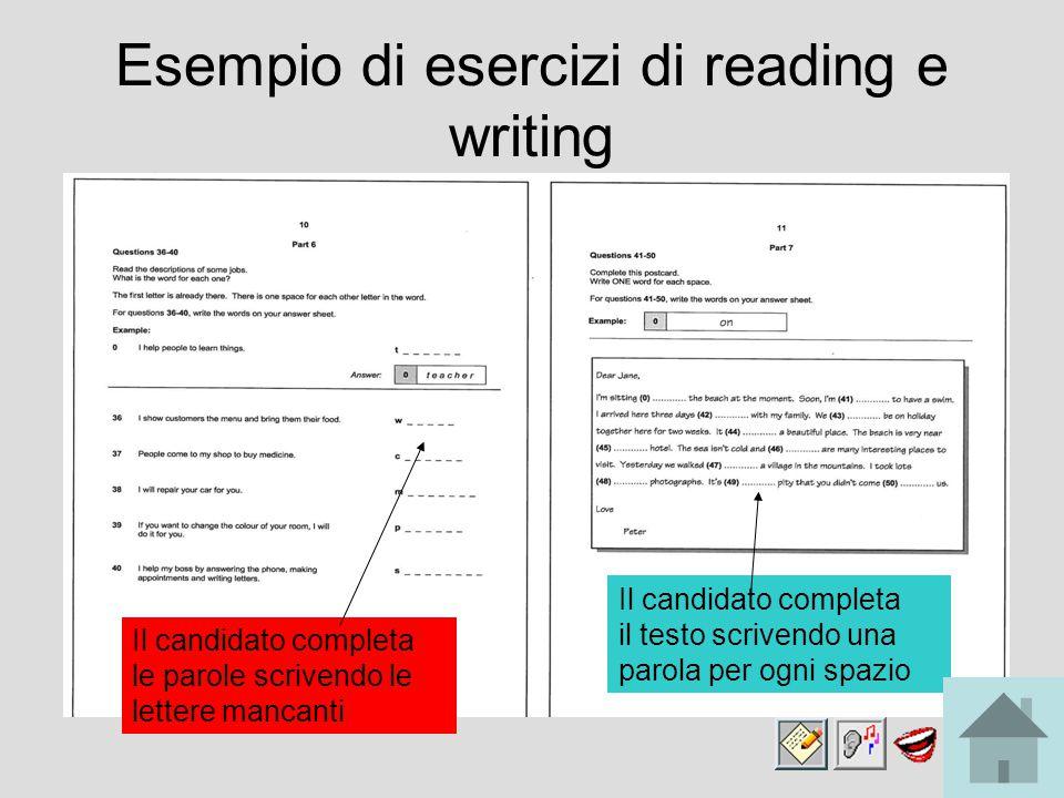 Esempio di esercizi di reading e writing Il candidato completa le parole scrivendo le lettere mancanti Il candidato completa il testo scrivendo una parola per ogni spazio