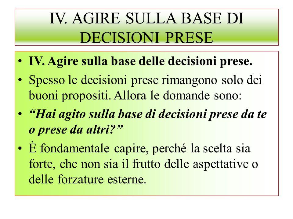IV. AGIRE SULLA BASE DI DECISIONI PRESE IV. Agire sulla base delle decisioni prese. Spesso le decisioni prese rimangono solo dei buoni propositi. Allo